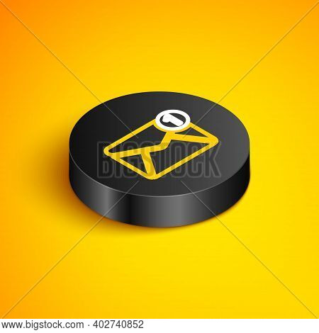 Isometric Line Envelope Icon Isolated On Yellow Background. Received Message Concept. New, Email Inc