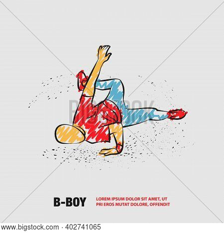Breakdancer Makes A Frieze. Vector Outline Street Dancing With Scribble Doodles Style Drawing.