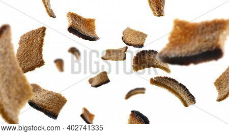 Rye Croutons Levitate On A White Background
