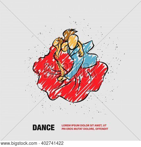 Couple Dancing Tango. Vector Outline Dance Illustration With Scribble Doodles Style Drawing.