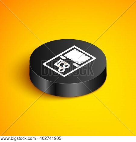 Isometric Line Music Book With Note Icon Isolated On Yellow Background. Music Sheet With Note Stave.