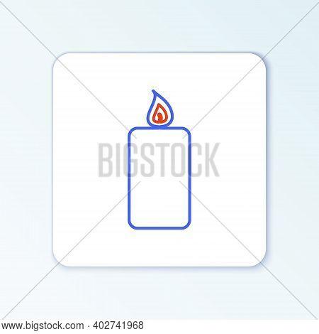 Line Burning Candle Icon Isolated On White Background. Old Fashioned Lit Candle. Cylindrical Aromati