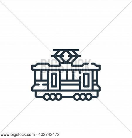 tram icon isolated on white background. tram icon thin line outline linear tram symbol for logo, web