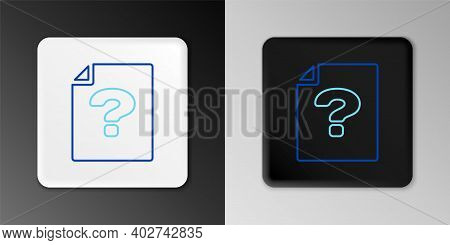 Line Unknown Document Icon Isolated On Grey Background. File With Question Mark. Hold Report, Servic