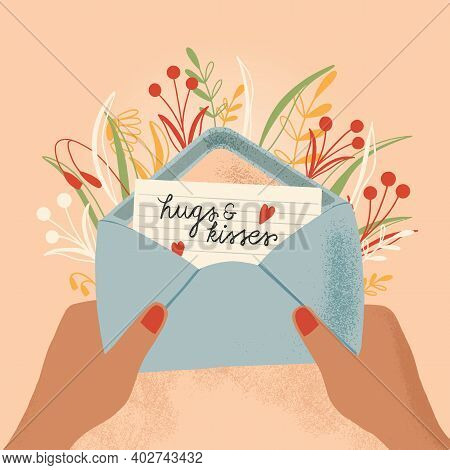 Envelope With Love Letter And Hands. Colorful Hand Drawn Illustration With Handlettering For Happy V
