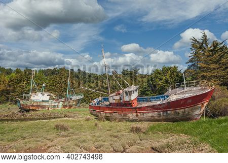 Trawler On Ship Cemetery At Channel In Brittany,france