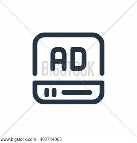 video ad icon isolated on white background. video ad icon thin line outline linear video ad symbol f