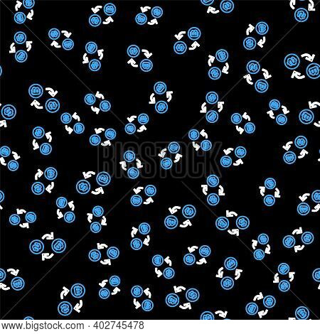 Line Processor Chip With Dollar Icon Isolated Seamless Pattern On Black Background. Cpu, Central Pro