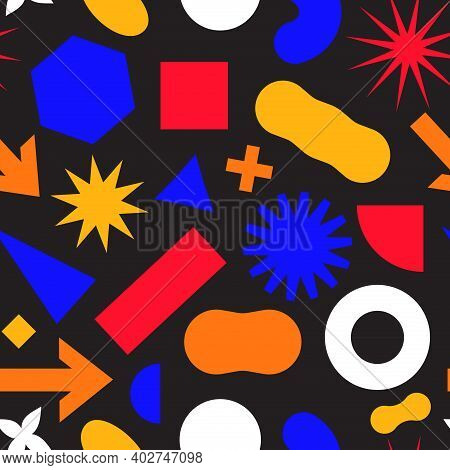 Seamless Pattern With Simple Geometric Minimalistic Abstract Shapes And Figures In Complementary Bri