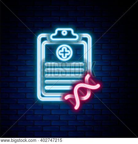 Glowing Neon Line Clipboard With Dna Analysis Icon Isolated On Brick Wall Background. Genetic Engine
