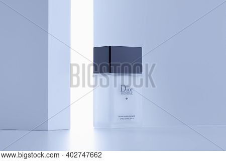 Prague,czech Republic - 9 January 2021: Calvin Klein After Shave Balm In The Backlight On The White