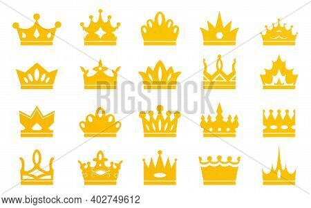 Collection Of Golden Crowns Isolated On White Background. Crowns For Kings, Queens, Princes-knights,