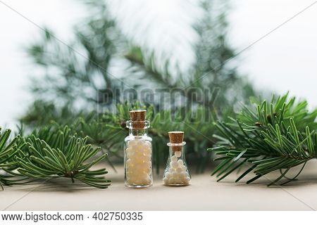 Glass Containers With Granules, Pine, Homeopathy, Naturopathy And Alternative Medicine Copy Space