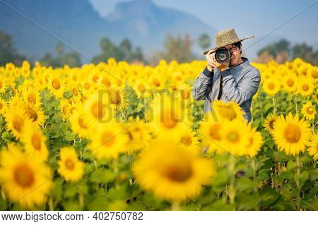 Asian Man Tourist And Photographer Holding Dslr Camera Taking Photo Of Full Bloom Yellow Sunflower F