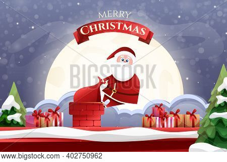 Bright Card With Santa Claus. Cartoon Santa Claus Stuck In The Chimney On The Roof With Gifts On The