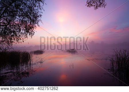 Magic Sunrise Over The Lake. Misty Early Morning, Rural Landscape, Wilderness, Mystical Feeling. Ser