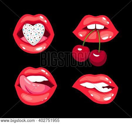 Sensual Kisses Set. Cartoon Glossy Sexy Smiles With Cherry And Hearts, Glamorous Sensual Women Lips,