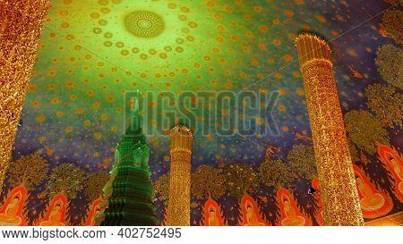 Bangkok, Thailand - 13 July, 2019: Wat Pak Nam Or Paknam Traditional Oriental Buddhist Temple Interi