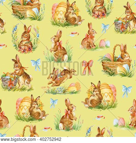 Seamless Pattern With Spring Easter Concept. Easter Watercolor Pattern With Cute Rabbits And Baskets