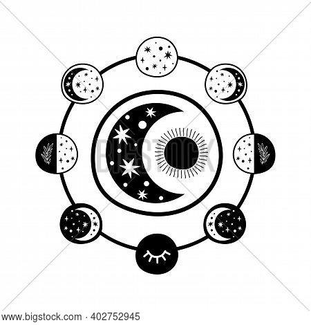 Moon Phase Logo. Boho Moon Symbol. Black Moon Cycle. Full Moon, Crescent Isolated. Celestial Magic G