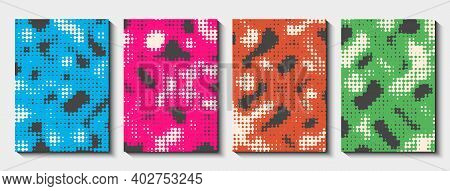 Set Of Cover Templates With Halftone Effect. Rounded Perforated Smooth Shapes In Different Colors. V