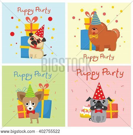Puppy Party Backgrounds. Cute Greeting Cards With Presents And Puppies Dog In The Flat Style