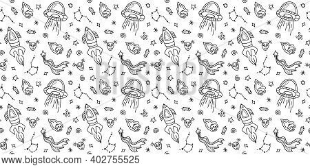 Space Black And White Doodle Seamless Pattern - Hand Drawn Line Digital Paper With Space, Stars, Spa