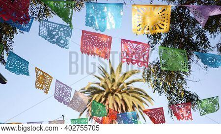 Colorful Mexican Perforated Papel Picado Banner, Festival Colourful Paper Garland. Multi Colored His