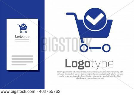 Blue Shopping Cart With Check Mark Icon Isolated On White Background. Supermarket Basket With Approv