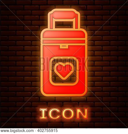 Glowing Neon Cooler Box For Human Organs Transportation Icon Isolated On Brick Wall Background. Orga