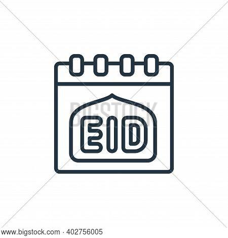 EID written on calendar icon isolated on white background. EID written on calendar icon thin line ou