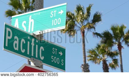 Pacific Street Road Sign On Crossroad, Route 101 Tourist Destination, California, Usa. Lettering On