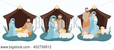 Joseph And Mary With Jesus. Jesus Is Born In A Stable In A Manger. Christmas 2021. Vector Illustrati