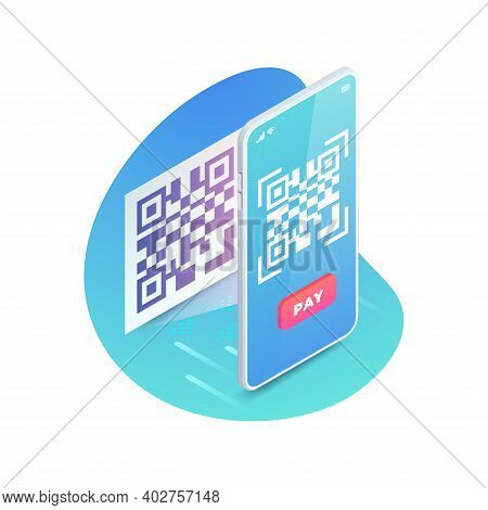 3d Scanning Barcode Isometric Concept, Scan Qr Code On Smartphone Screen. Qr Pay Vector Illustration