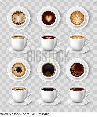 Realistic Coffee Mug. 3d Vector Illustration For Mockups. Cappuccino, Americano, Espresso, Mocha Lat