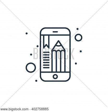 mobile app icon isolated on white background. mobile app icon thin line outline linear mobile app sy