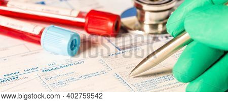 Form to fill in the results of  biochemistry blood tests