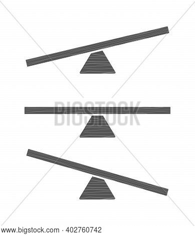 Seesaw Icon. Preschooler Balancing Toy In Park For Kids Outdoor Playground Vector Set. Illustration