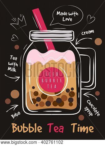 Bubble Tea Poster. Print Cafe Menu Design With Funny Text Typography Placard Plastic Cold Delicious