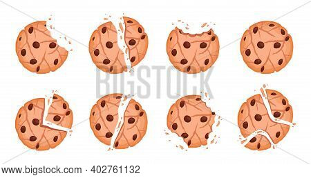 Bitten Cookies. Tasty Crumble Dessert Vector Chipped Cookies Collection. Illustration Bake Oatmeal W