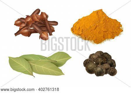 Realistic. Herb Leaves Gourmet Kitchen Accessories For Preparing Food Laurels Saffron Seasoning Vect