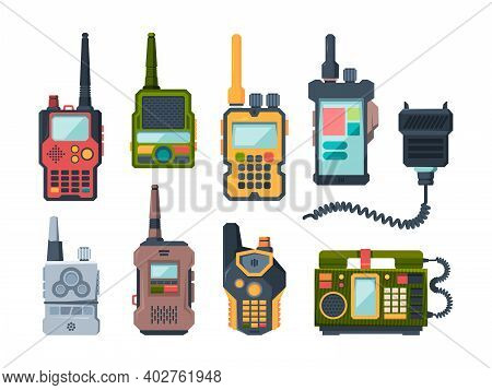 Radio Transceiver. Talk Devices For Military Police Or Travellers Garish Vector Set. Illustration Tr