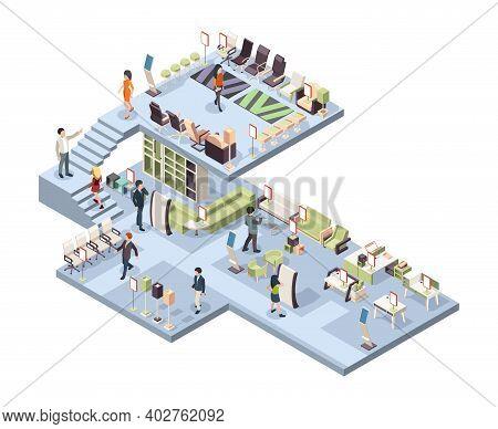 Furniture Shop. Buyers Walking In Big Furniture Store Garish Vector Isometric Interior. Store Furnit