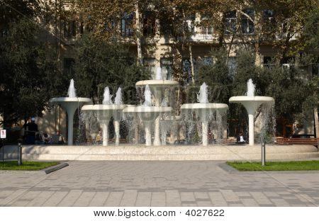 Fountain In A Center Of Baku