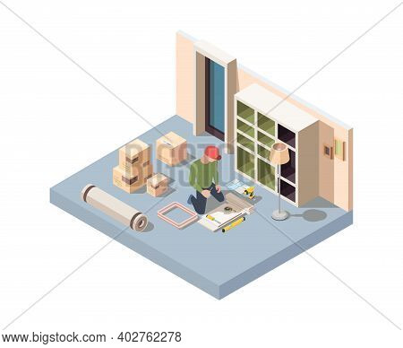 Interior Furniture Craft. Men Assembly New Desk Or Wooden Wardrobe In Room Renovation Home Interior