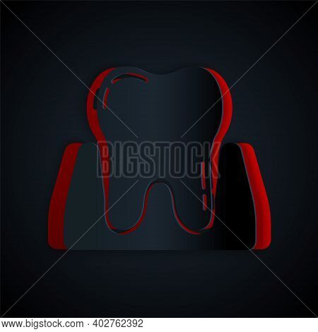Paper Cut Tooth Icon Isolated On Black Background. Tooth Symbol For Dentistry Clinic Or Dentist Medi