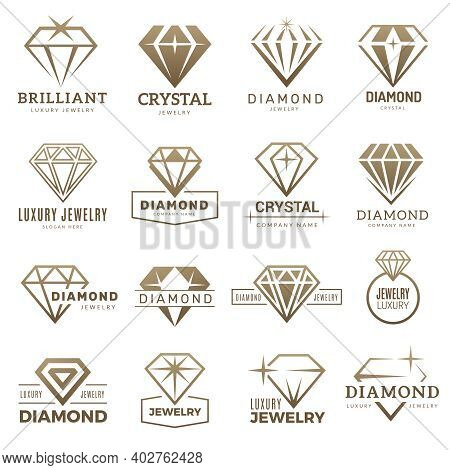 Diamond Logo. Stylizes Gemstones Royal Luxury Symbols With Jewellery Recent Vector Templates. Gemsto