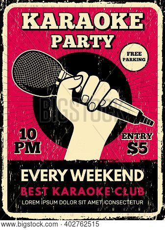 Karaoke Party Poster. Music Club Placard With Microphone Silhouettes Recent Vector Flyer Template. K