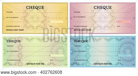Bank Check Template. Voucher Design For Banking Business Recent Vector Illustration. Voucher And Pay
