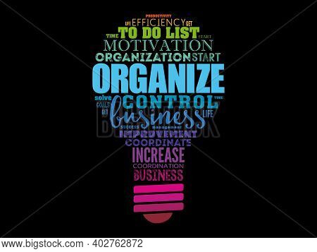 Organize Light Bulb Word Cloud Collage, Business Concept Background